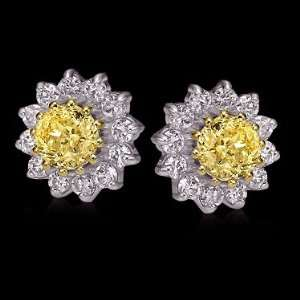 Yellow canary diamonds stud earrings gold ear ring new