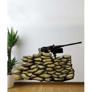 Vinyl Wall Decal Sticker Gun 50 Caliber Nest Army Military