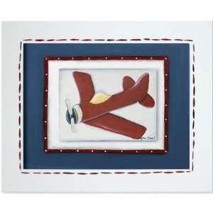 Transportation Red Plane Framed Giclee Wall Art Color