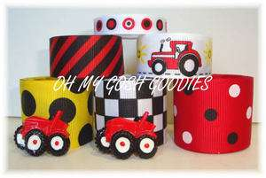 12Y+ RESIN BIG RED SEXY TRACTOR BOY GROSGRAIN RIBBON MIX 4 HAIRBOW