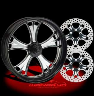 BLACK PERFORMANCE MACHINE GASSER WHEELS, ROTORS, PULLEY TIRES HARLEY