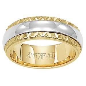 com ARTCARVED SATIN 14k Two Tone Gold Womens Wedding Band ArtCarved