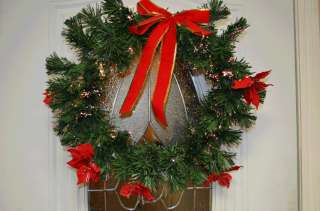 Pre Lit Christmas Wreath Holiday Fiber Optic Mulit color Fiber Optic