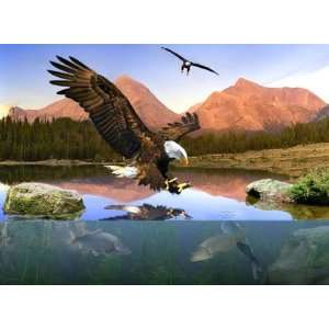 Bald Eagle Fishing ~ Wooden Jigsaw Puzzle Toys & Games