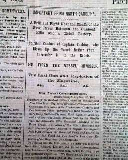 CANE HILL AR Beaufort NC Map 1862 Civil War Newspaper *
