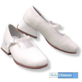 Girls Dress Shoes ~ White Glitter Party Mary Janes Shoes