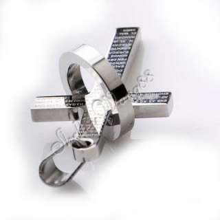 Cool Mens 316L Stainless Steel Cross Bible Pendant