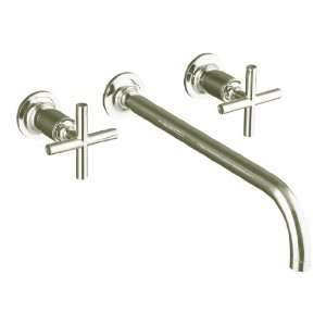 Angle Spout and Cross Handles, Valve Not Included, Vibrant Polished