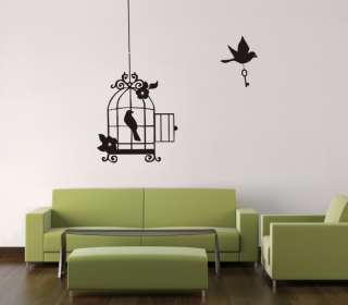 HANGING BIRD CAGE WALL ART STICKER VINYL DECO GC034
