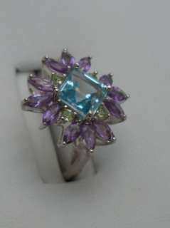 Sterling Silver Blue Topaz Amethyst ring Peridot accent