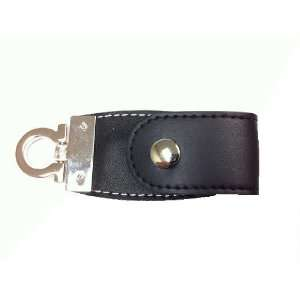 Fashion Leather Key Chain USB Flash Drive 4 GB (Black