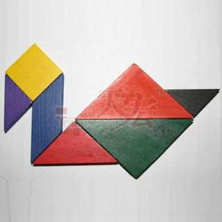 Wooden Tangram 7 Piece Puzzle Square I.Q. Game Brain Teaser