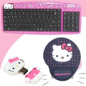 Hello Kitty USB Keyboard with Hot Keys #90309K (Pink) + Hello Kitty 2
