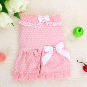 Pink Dress Skirt Apparel Clothes w/ Dot for Pet Dog   XS