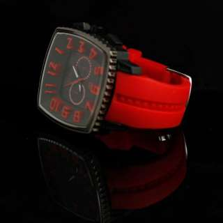 New Mens Sport Square Big Dial Red Rubber Silicon Band Wrist Watch