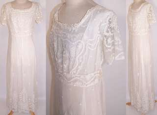 Edwardian White Net Tambour Embroidery Lace Empire Waist Wedding Gown