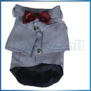 New Pet Dog Clothes Apparel Houndstooth Suit & Bowtie