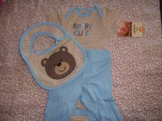 Carters Beary Cute Blue Brown Set, Velcro Bib, Onesie, Pants NB Boy 5