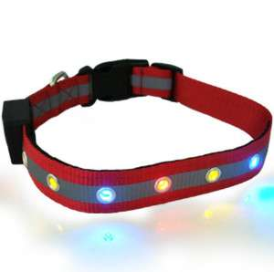 Pet Nylon Safety Collar Belt Ribbon Band 6 LED Flashing Light