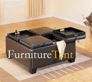 Square Ottoman Cocktail Table with Storage Dark Brown