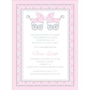 Damask Pram Pink Twins Baby Shower Invitations Everything