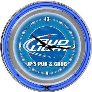 Bud Light Blue 14 inch Double Ring Neon Clock Personalized   Game Room
