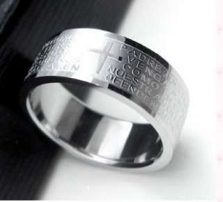 Stainless Steel Bible Scripture Ring Mens Womens Sale