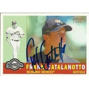 Frank Catalanotto Signed Brewers 09 Topps Heritage Card