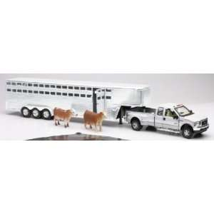 FORD F350 FIFTH WHEEL W/ LIVESTOCK TRAILER Truck New Ray Toys & Games