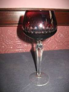 Vintge Bohemian Czech Cut Crystal Ruby Wine Goblet #4