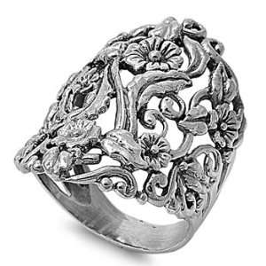 .925 Sterling silver Flower Vine Ring   Size 8 Jewelry