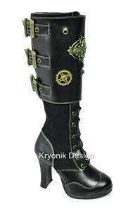 Demonia Crypto 302 goth steampunk black knee boots 8