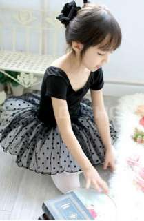 Girls Black Dance Party Leotard Ballet Tutu Dress 2 7Y