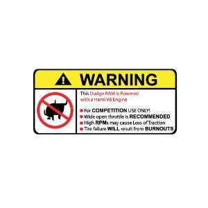 Dodge Ram Hemi V8 No Bull, Warning decal, sticker