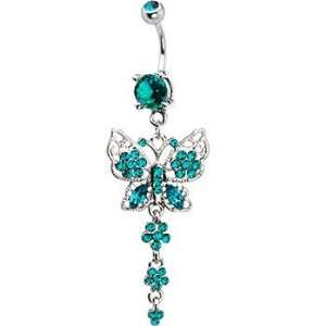 Blue Zircon Cz Butterfly Gem Chain Drop Belly Ring