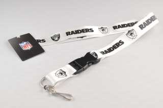 NEW Official Oakland Raiders NFL Football Lanyard Keychain White 22