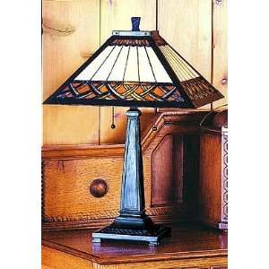 Arts and Crafts Tiffany Table Lamp (Honey/Root Beer/Black