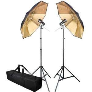 Heavy Duty Photo Lighting Kit 32 Inch In 2 Gold Umbrella