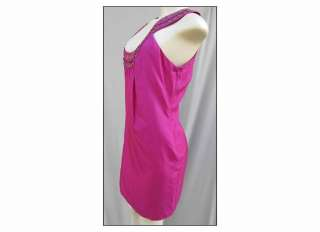 NEW Laundry Shelli Segal Pink Lustrous Silk Shift Dress w/ cutaway