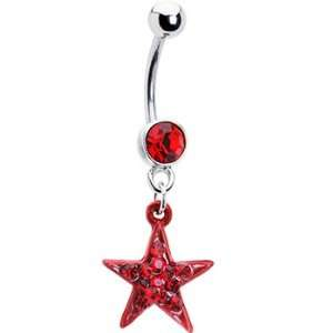 Super Star Red Paved Star Belly Ring Jewelry