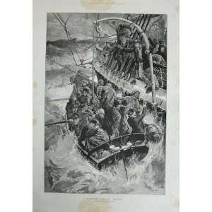 1887 Overend Fine Art Ship Wreck Stormy Sea Boat People