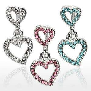 Top Drop Pink Pave Gemmed 2 Heart Belly Ring   14G   3/8 Bar Length