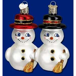 Mercks Old World Christmas cute snowman glass ornament 3
