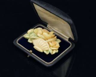 Large Vintage Art Deco Carved Celluloid Rose Floral Bouquet Basket Pin