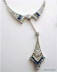 ANTIQUE ART DECO STYLE DIAMOND SAPPHIRE PLATINUM 18K GOLD NECKLACE