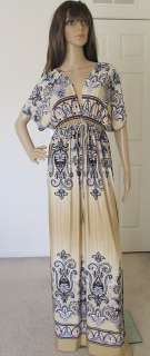 New Boho Vtg Kimono Long Maxi Summer Cocktail Sun Dress Size S M L 2 4