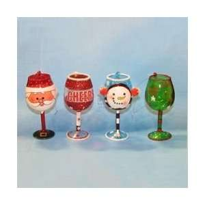 CHRISTMAS WINE GLASS ORNAMENTS   GLASS CHRISTMAS WINE
