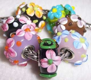 Blossm Flowers Murano Glass Beads fit European Charm Bracelet C