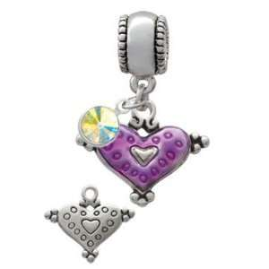Hot Purple Enamel Heart with Circles European Charm Bead Hanger with
