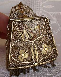 SUPERB ART NOUVEAU GOLD VERMEIL MINI BAG CHATELAINE.